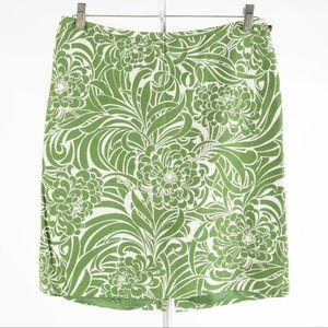 ANN TAYLOR Loft – Green Floral Skirt – Size 8